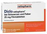 Diclo ratiopharm bei Schmerzen und Fieber 25 mg Filmtabletten