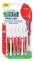 GUM Trav-Ler 0,8 mm Kerze rot Interdentalbürstchen und 6 Kappen